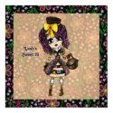 Girly Steampunk Lolita party PinkyP customizable Custom Invitations