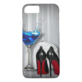 girly stilettos blue martini party girl modern iPhone 8/7 case