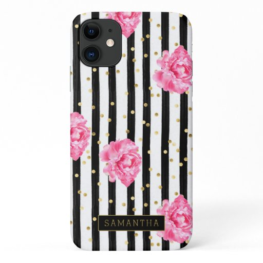 Girly Stripe Glitter Floral Monogram iPhone 11 Case