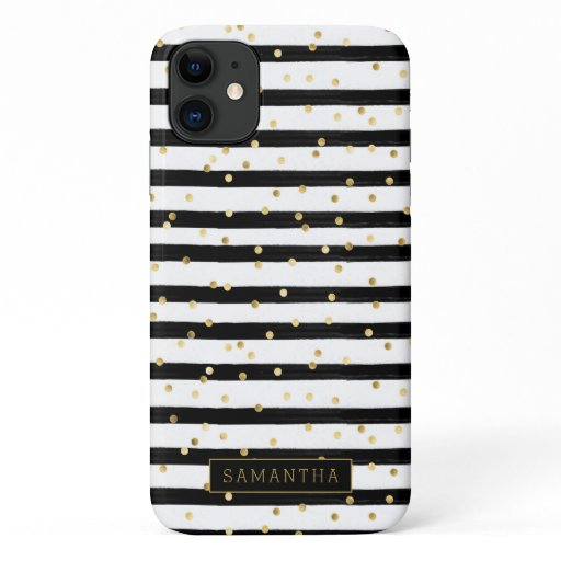 Girly Stripe Glitter Monogram iPhone 11 Case