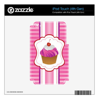 Girly stripes and Cupcakes Decals For iPod Touch 4G
