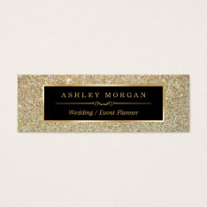 Girly Stylish And Fashion Beauty Gold Glitter Mini Business Card at Zazzle