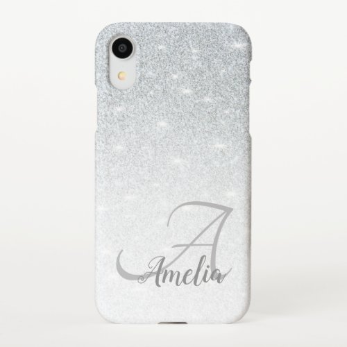 Girly Stylish Crystal Silver Glitter Sparkles Name iPhone XR Case