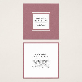Girly Stylish Fashion ROSE GOLD + white square Square Business Card