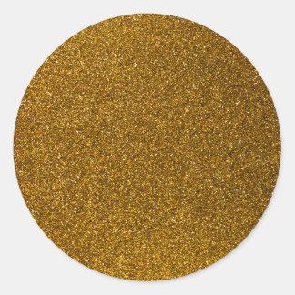 Girly Stylish Gold Glitter Photo Print Classic Round Sticker