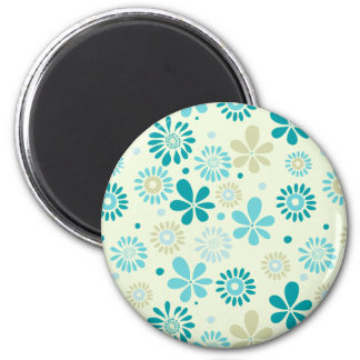 Girly Stylish Teal Blue Daisy Floral Pattern 2 Inch Round Magnet