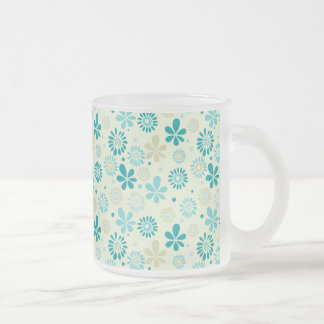 Girly Stylish Teal Blue Daisy Floral Pattern Frosted Glass Coffee Mug