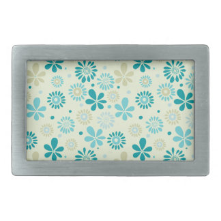 Girly Stylish Teal Blue Daisy Floral Pattern Rectangular Belt Buckle