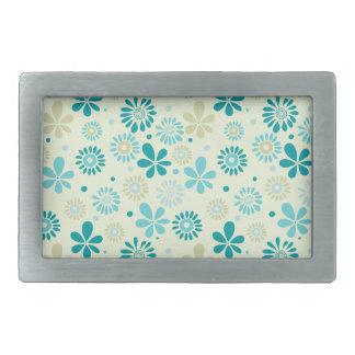 Girly Stylish Teal Blue Daisy Floral Pattern Rectangular Belt Buckle