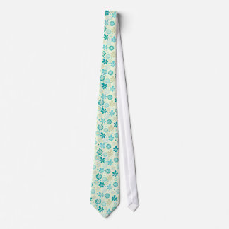 Girly Stylish Teal Blue Daisy Floral Pattern Tie