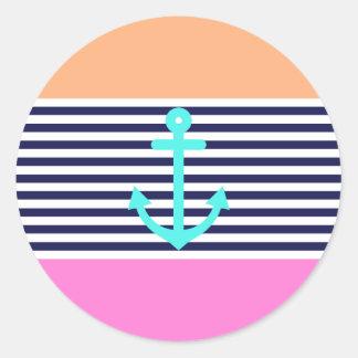 Girly Summer Nautical Classic Round Sticker