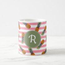 Girly Summer Pineapple Pattern | Pink Striped Coffee Mug
