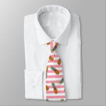 Girly Summer Pineapple Pattern | Pink Striped Tie