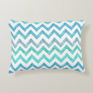 Girly Summer Sea Teal Turquoise Glitter Chevron Accent Pillow