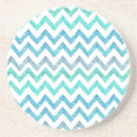 Girly Summer Sea Teal Turquoise Glitter Chevron Beverage Coasters