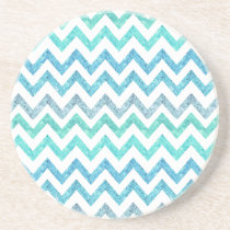 Girly Summer Sea Teal Turquoise Glitter Chevron Drink Coaster