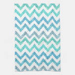 Girly Summer Sea Teal Turquoise Glitter Chevron Hand Towels
