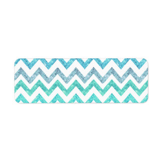 Girly Summer Sea Teal Turquoise Glitter Chevron Label