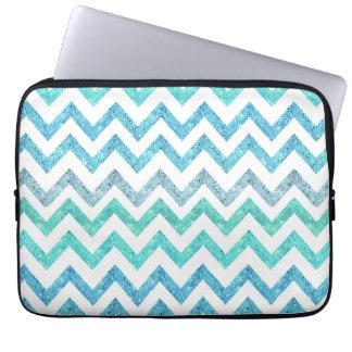Girly Summer Sea Teal Turquoise Glitter Chevron Laptop Computer Sleeve