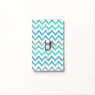 Girly Summer Sea Teal Turquoise Glitter Chevron Light Switch Cover
