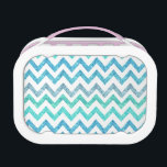 """Girly Summer Sea Teal Turquoise Glitter Chevron Lunch Box<br><div class=""""desc"""">A girly, bright glitter chevron zigzag pattern featuring teal, turquoise, aqua glitter ombre gradients summer and sea colors with striped chevron pattern. The perfect gift for her, the girly girl who loves modern and chic pattern. Note that none of the elements are glitter or shiny, this is a printed image...</div>"""