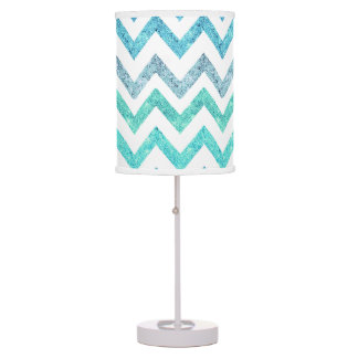 Girly Summer Sea Teal Turquoise Glitter Chevron Table Lamp