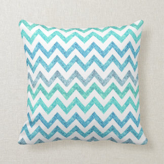 Girly Summer Sea Teal Turquoise Glitter Chevron Throw Pillow