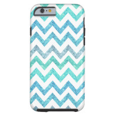 Girly Summer Sea Teal Turquoise Glitter Chevron Tough iPhone 6 Case