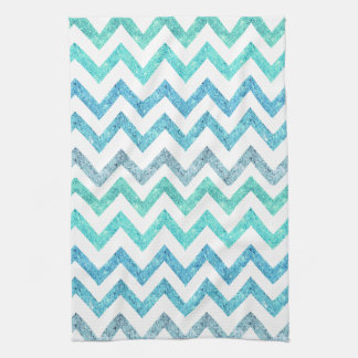 Girly Summer Sea Teal Turquoise Glitter Chevron Towel