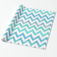Girly Summer Sea Teal Turquoise Glitter Chevron Wrapping Paper