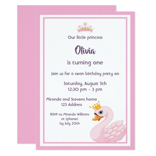 Girly Swan 1st Birthday Party Invitation Card