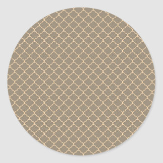 Girly Sweet Tan and Peach Elegant Pattern Classic Round Sticker