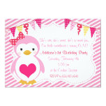 Girly Sweetheart Penguin Valentine Birthday Party 5x7 Paper Invitation Card