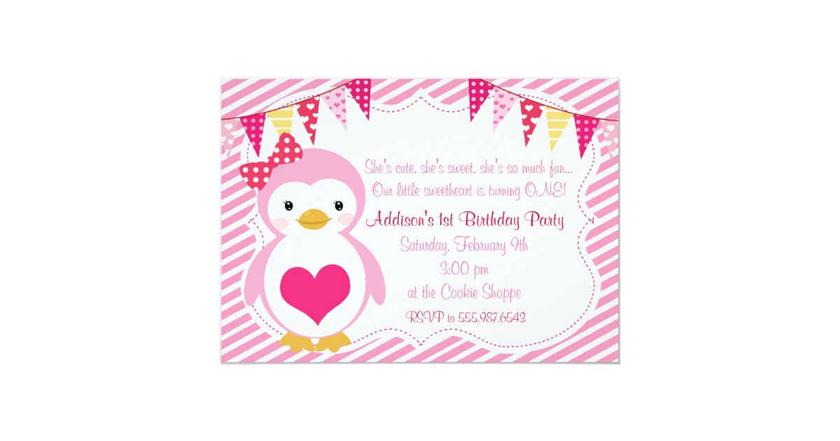 Girly Sweetheart Penguin Valentine Birthday Party Invitation Zazzle Com