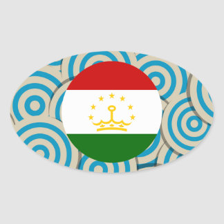 Girly Tajik Flag Gift Oval Sticker