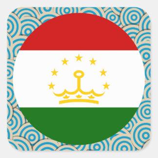 Girly Tajik Flag Gift Square Sticker