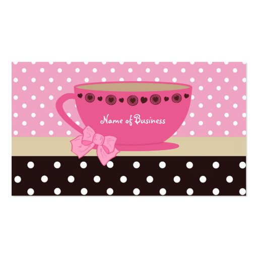Girly Tea Shop Pink And Brown Polka Dots Teacup Business Cards