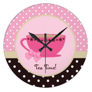 Girly Tea Time Teacup Pink and Brown Polka Dot Bow Wall Clocks