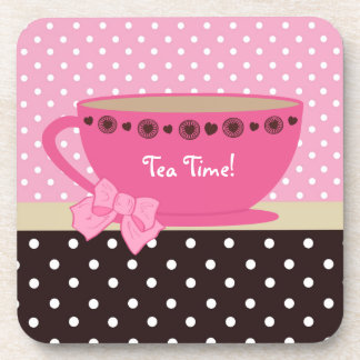 Girly Tea Time Teacup Pink and Brown Polka Dot Bow Drink Coaster