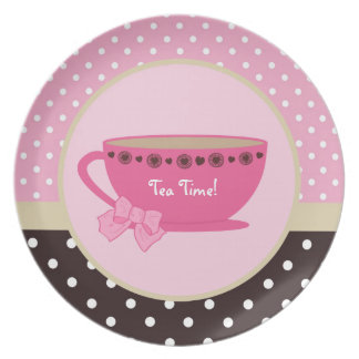 Girly Tea Time Teacup Pink and Brown Polka Dot Bow Party Plates