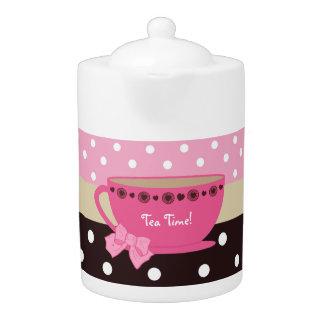 Girly Tea Time Teacup Pink and Brown Polka Dot Bow Teapot