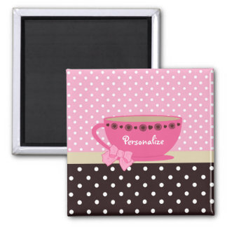Girly Teacup Pink and Brown Polka Dot Bow and Name 2 Inch Square Magnet