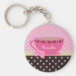 Girly Teacup Pink and Brown Polka Dot Bow and Name Basic Round Button Keychain