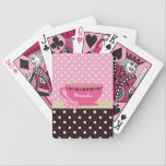 """Girly Teacup Pink and Brown Polka Dot Bow and Name Bicycle Playing Cards<br><div class=""""desc"""">Girly pink and brown polka dot pattern playing cards with a cute pink teacup trimmed with a trendy heart border, and a pretty pink ribbon tied in a bow on the handle. Personalize by adding your name. Perfect present for the girly girl who would love to bring a fun tea...</div>"""