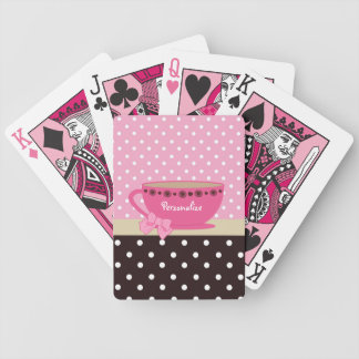 Girly Teacup Pink and Brown Polka Dot Bow and Name Bicycle Playing Cards