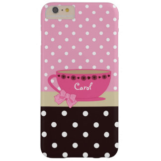 Girly Teacup Pink and Brown Polka Dot Bow and Name Barely There iPhone 6 Plus Case