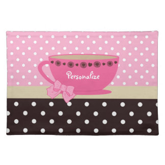 Girly Teacup Pink and Brown Polka Dot Bow and Name Cloth Placemat