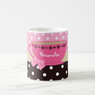 Girly Teacup Pink and Brown Polka Dot Bow and Name Coffee Mug