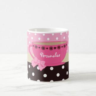 Girly Teacup Pink and Brown Polka Dot Bow and Name Coffee Mug