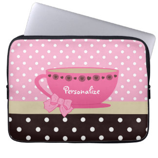 Girly Teacup Pink and Brown Polka Dot Bow and Name Computer Sleeves